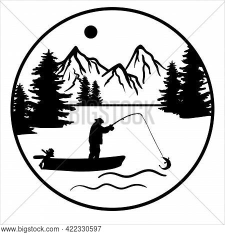 Fisherman In A Motor Boat Caught Fish Fishing Rod. Fishing On A River Or Lake Against The Backdrop O