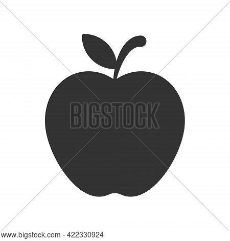 Apple Shape Icon. Fruit Silhouette Symbol Logo. Vector Illustration Image. Isolated On Whitebackgrou