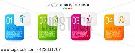 Set Line Perfume, Spray Can For Hairspray, Bottle Of Shampoo And Cream Lotion Cosmetic Tube. Busines
