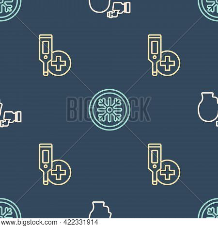 Set Line Checking Body Temperature, Digital Thermometer And Snowflake On Seamless Pattern. Vector