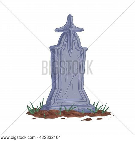 Old Stone Gravestone With Cross. Upright Tombstone In Vintage Style. Realistic Headstone Of Ancient