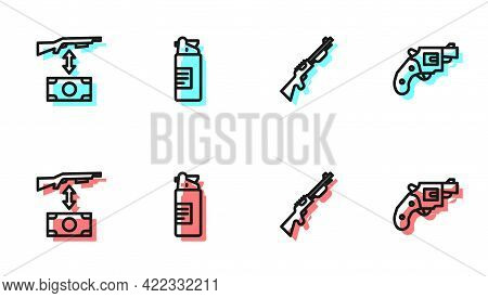 Set Line Hunting Gun, Buying Assault Rifle, Weapons Oil Bottle And Small Revolver Icon. Vector