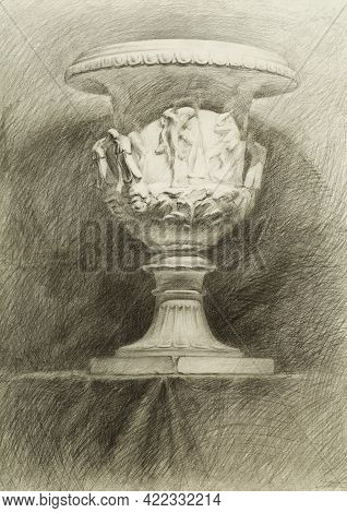 Drawing From Life Of A Classic Plaster Vase. Pencil Sketch Of A Still Life On Paper. Educational Bla