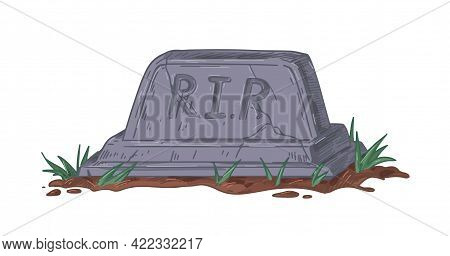 Granite Gravestone With Rip Or Rest In Peace Inscription. Old Cracked Tomb With Tombstone. Realistic