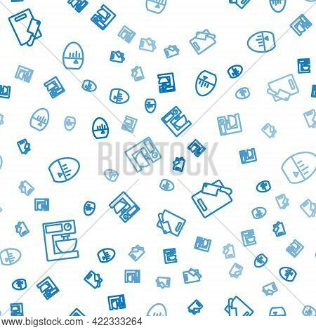 Set Line Electric Mixer, Cutting Board And Meat Chopper And Kitchen Timer On Seamless Pattern. Vecto