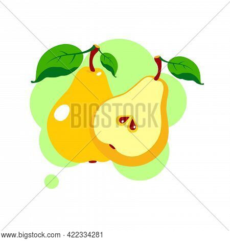 Fresh Pear Icon Vector Illustration. Yellow Pear Isolated On White Background. Flat Illustration.