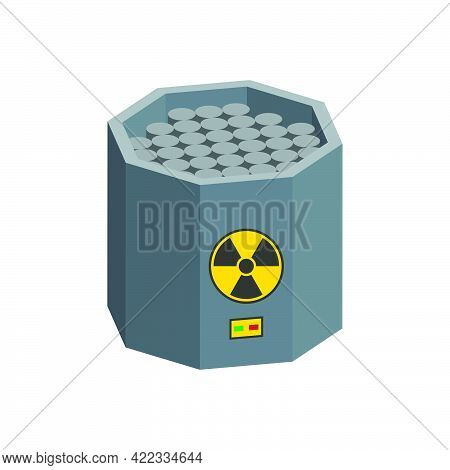 Nuclear Reactor With Graphite Rods Isolated On White Background.isometric And 3d View.