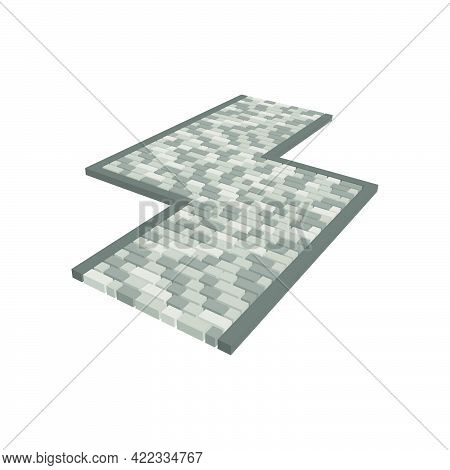 Layout Example Of Paving Slabs Isolated On White Background.vector Isometric And 3d View.