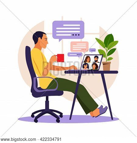 Man Using Computer For Collective Virtual Meeting And Group Video Conference. Man At Desktop Chattin