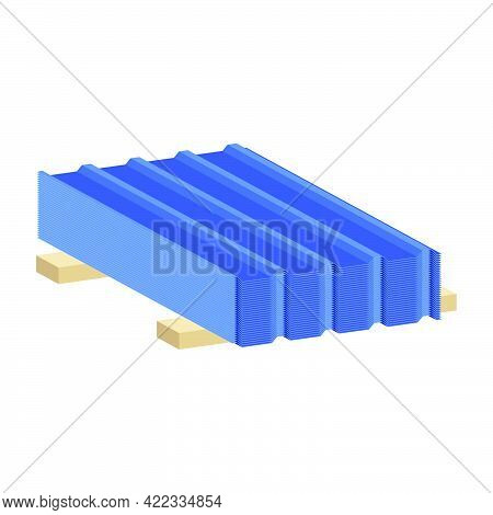 Profile Sheet Iron For Roofs And Fences Isolated On White Background.3d Vector Illustration And Isom
