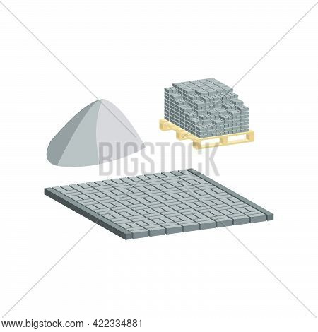 Paving Slabs On A Pallet With A Pedestrian Walkway Made Of Paving Slabs And Borders.vector Isometric