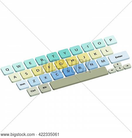 Keyboard With Multi-colored Buttons Isolated On White Background.3d Vector Illustration And Isometri