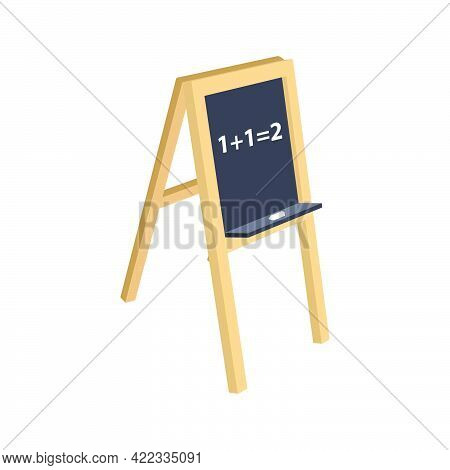 Blackboard For Children Isolated On White Background.3d Vector Illustration And Isometric View.