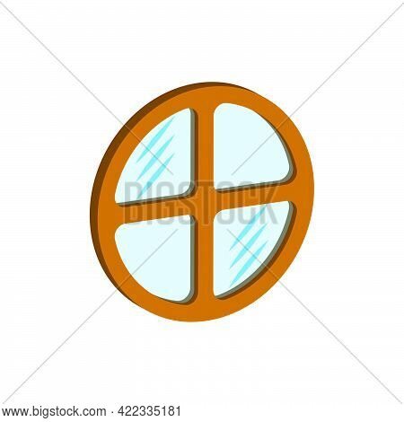 Round Window Isolated On White Background.isometric And 3d View.