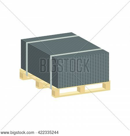 Profile Metal Pipe Stacked In Piles On A Pallet Isolated On White Background.3d Vector Illustration