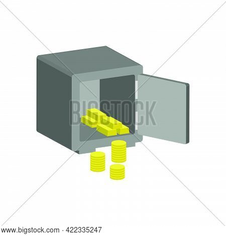 Safe With Coins And Gold Bars Isolated On White Background.3d Vector Illustration And Isometric View