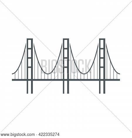 Bridge Icon In Flat Style Isolated On White Background.vector Illustration.