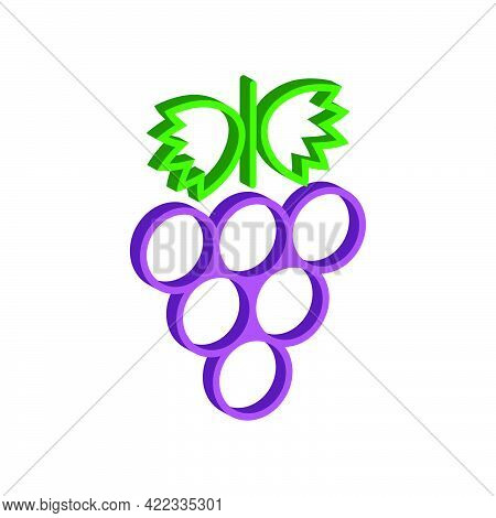 Grapes Icon Isolated On White Background.3d Vector Illustration And Isometric View.