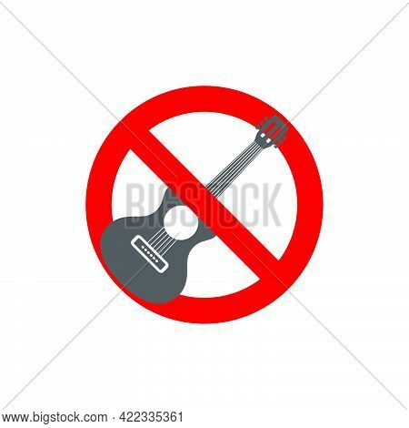 Prohibition Sign. Forbidden Street Music In Flat Style Isolated On White Background.vector Illustrat