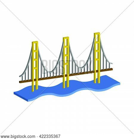 Golden Gate Bridge Isolated On White Background.3d Vector Illustration And Isometric View.