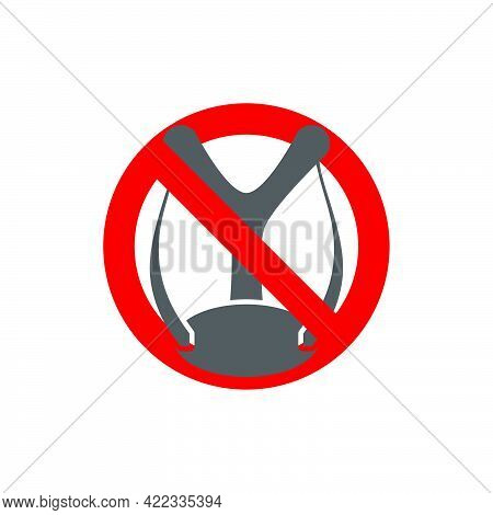 Prohibition Sign.forbidden To Shoot A Slingshot In Flat Style.vector Illustration.