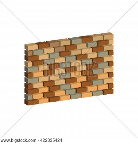 Brick Wall Isolated On White Background.vector Isometric And 3d View.