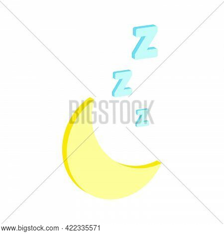 Zzz Sleep Icon Isolated On White Background.vector Isometric And 3d View.