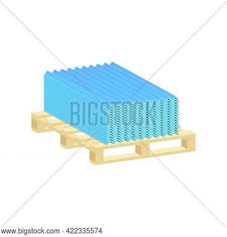 Roofing Sheet Iron On A Pallet Isolated On White Background.vector Isometric And 3d View.