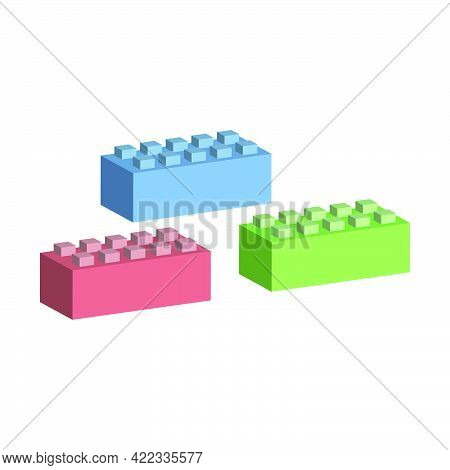Colored Cubes For Construction.vector Isometric And 3d View.