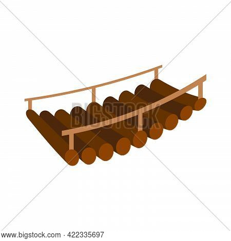 Wooden Bridge Isolated On White Background.vector Isometric And 3d View.