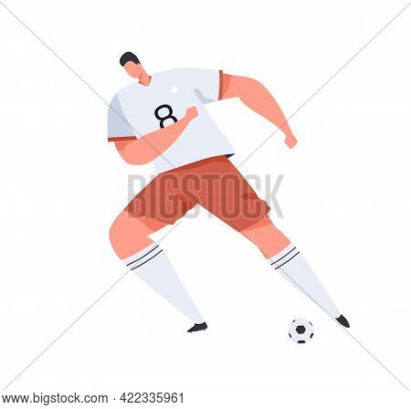 Soccer Or Football Player In Uniform Kicking Ball With His Foot. Professional Footballer In Motion.