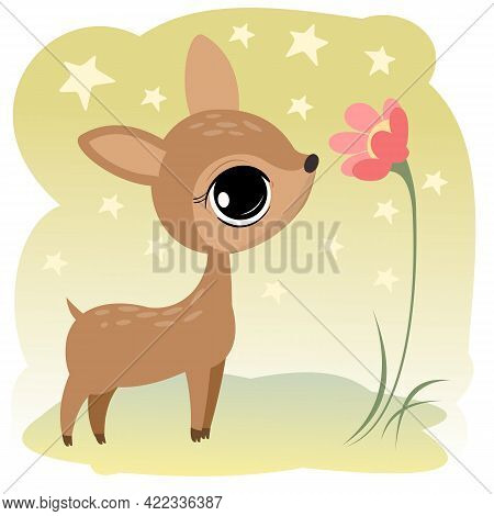 A Little Baby Fawn Without Horns. Isolated Object On A White Background. Cheerful Kind Animal Child.