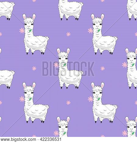 Cute Fluffy Llama And Pink Flower Seamless Pattern. White Hand Drawn Alpaca On Lilac Background For