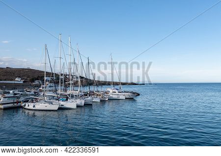 Sailing Boats At Loutra Village Port, Kythnos Island, Greece