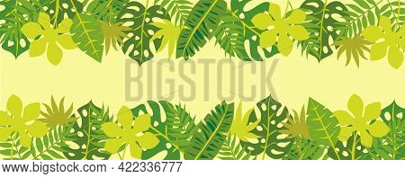 Tropical Nature Leaves Background Vector. Floral Pattern, Tropical Leaf. Exotic Pattern With Palm Le
