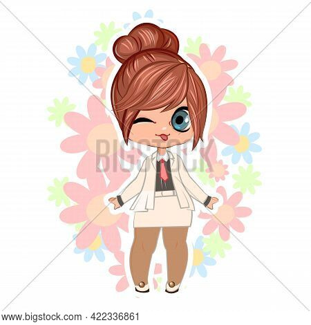 Little Girl In A Business Suit And Tie. Handsome Fashionable Child. The Isolated Object On A White B
