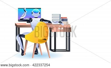 Robot Sitting At Workplace Robotic Businessperson Working In Office Artificial Intelligence Technolo