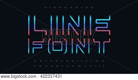 Cutting Edge Letter And Number Set, Futuristic Font, Cyberpunk Color Alphabet For Cinema And Game He