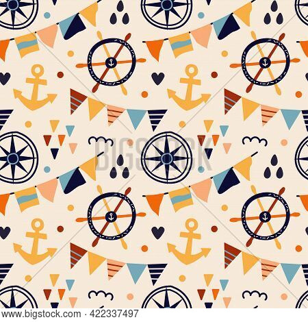 Vector Illustration. Seamless Pattern With Marine Symbols. Anchor, Rudder, Compass And Flags. On A B