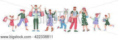 Banner With Group Of Cheerful People Shopping. Big Discount, Purchasing Of Goods And Gifts Concept W