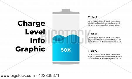 Battery Charge Level Infographic. 50 Percents Power Indicator. Energy Percentage Loading Process. Ve