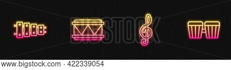 Set Line Treble Clef, Xylophone, Drum And . Glowing Neon Icon. Vector