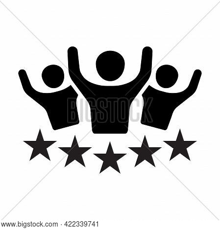 Premium Quality Customer Service Icon Vector. People Group With 5 Stars Over Hand For Graphic Design