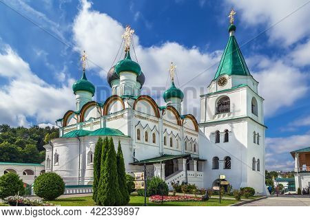 Pechersky Ascension Monastery In Nizhny Novgorod, Russia. Ascension Cathedral And Bell Tower