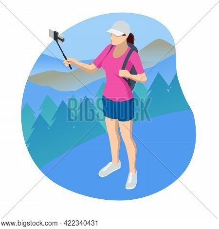 Isometric Video Blogger Recording Video With Camera. Tutorial Blogger, Blog Online, Web Vlogger. Onl