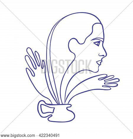 Abstract Drawing Line Art. Woman Getting Out Of A Jug. The Concept Of A Complex Relationship, The Su