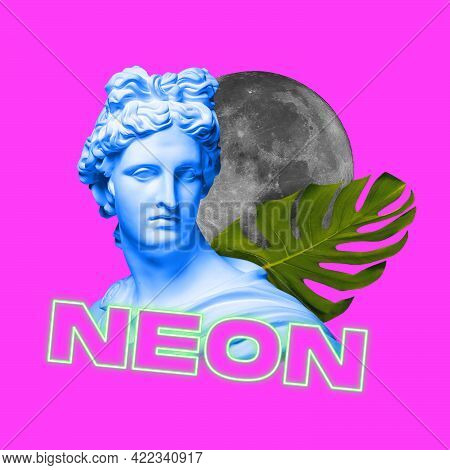 Contemporary Art Collage. Modern Conceptual Artwork With Ancient Statue Bust Isolated Over Pink Back