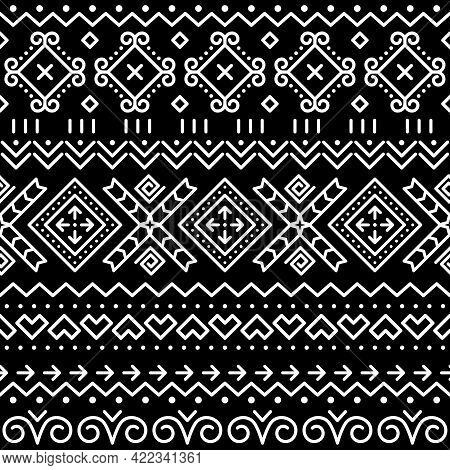 Folk Art Vector Seamless Geometric Pattern From Slovakia, Ethnic Ornament Inspired By Traditional Pa