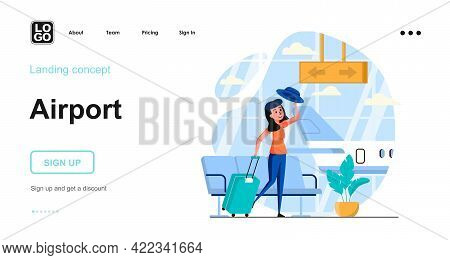 Airport Web Concept. Travelling Woman With Luggage Wait In Waiting Room Before Boarding Plane. Templ