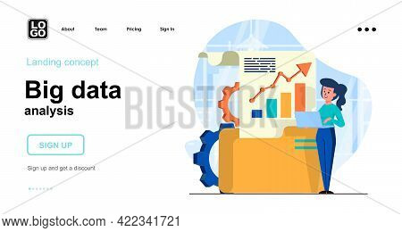 Big Data Analysis Web Concept. Woman Analyst Processes Data Files, Business Analytics Or Statistics.